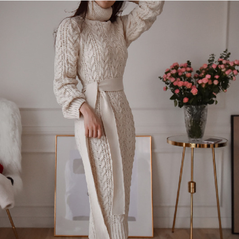 19 Winter Temperament Bursting Elegant Lace Waist Twist High Collar Knit Bottoming Sweater Dress dropshipping 6