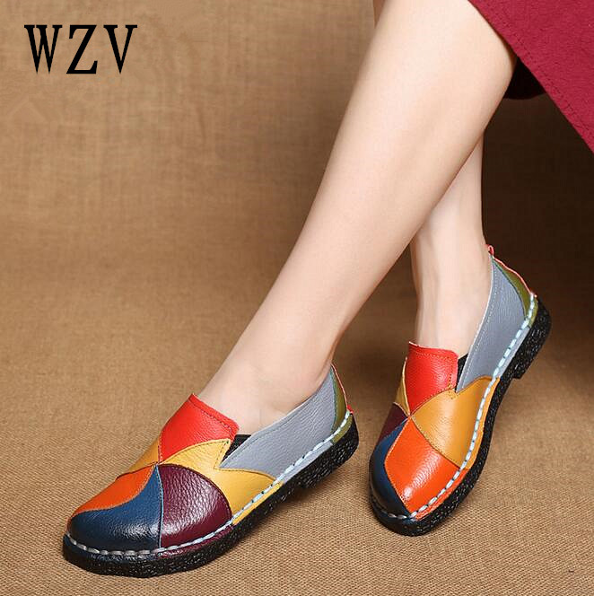 2018 Summer Autumn Fashion Genuine leather  Round Toe Mix Color Flat Shoes Vintage Genuine Leather Women Flats Girl Loafer B229 front lace up casual ankle boots autumn vintage brown new booties flat genuine leather suede shoes round toe fall female fashion