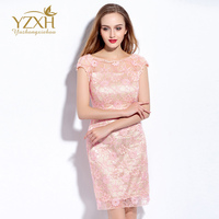 Nieuw gekleurde kant jurk met bloemen Korte Mouw Geborduurde Kant Sexy Avond Vrouwen Jurk Up Kleine Roze Blauw Strand Jurk