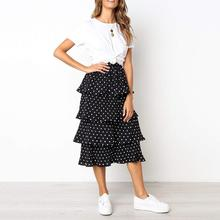 Women Summer Fashion Chiffon Skirts Dot Party High Waist Lace Long Skirt women skirts 2019