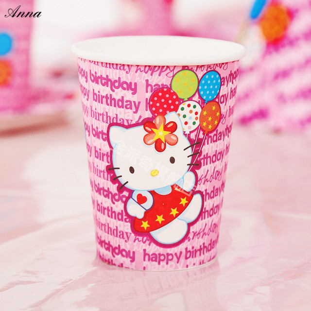 10pcslot Hello Kitty Party Supplies Paper Cup Cartoon Birthday
