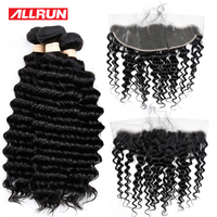 Allrun 3 Bundles Deep Wave Human Hair With 13 4 Ear To Ear Lace Frontal Closure