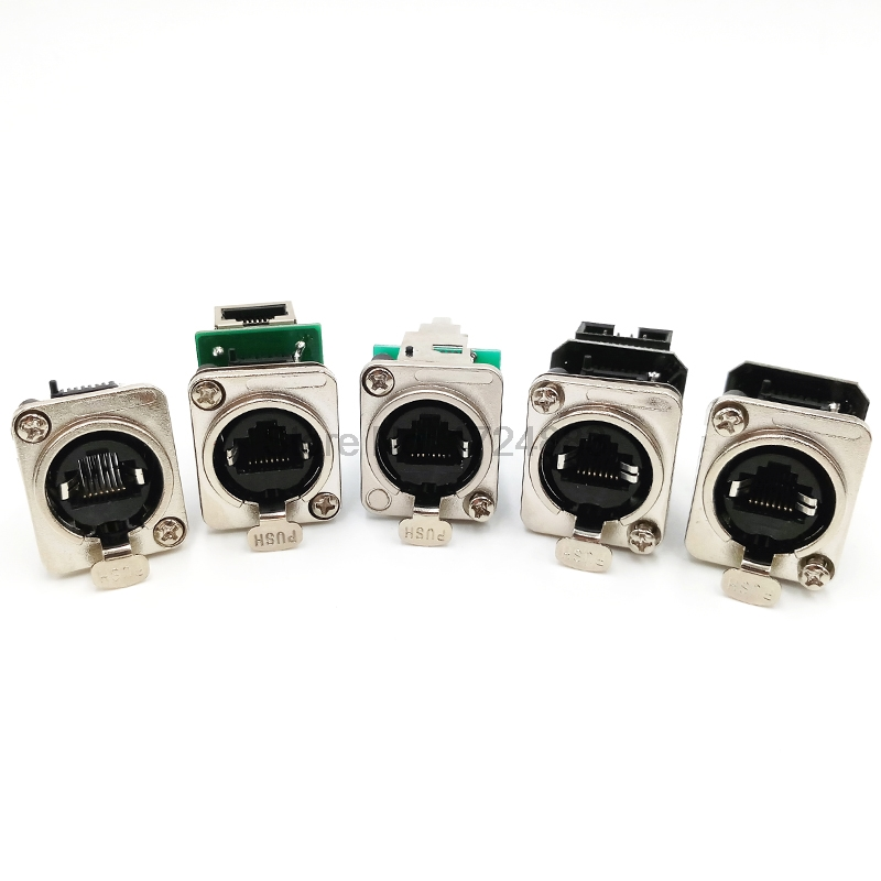 rj45 socket connections Coupler rj45 panel mount jack 8p8c waterproof socket ne8fdp ne8fde bend right angle network connector 24 pcs rj45 modular network pcb jack 56 8p w led 4 ports