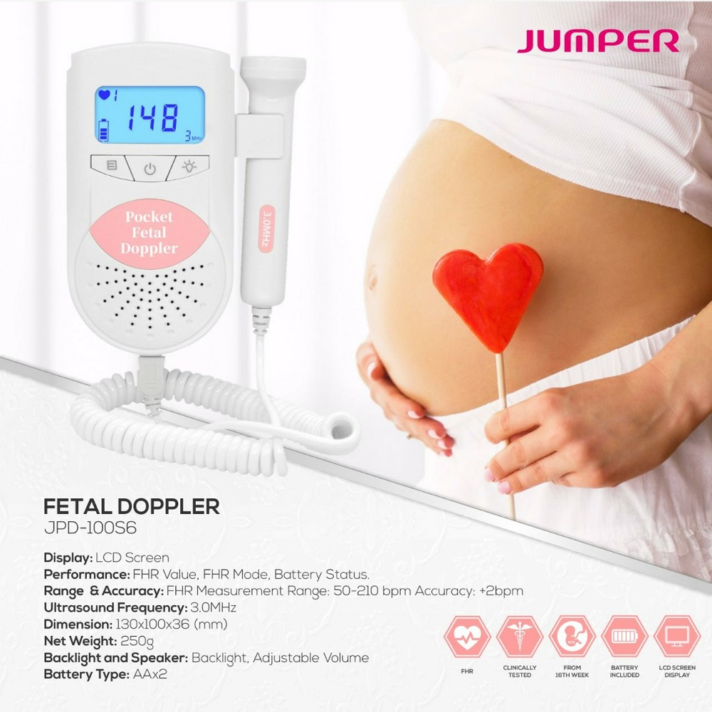 Détecteur de battement de coeur de bébé d'ultrason de Doppler foetal de cavalier maison enceinte Doppler bébé moniteur de fréquence cardiaque de poche Doppler 3.0MHz