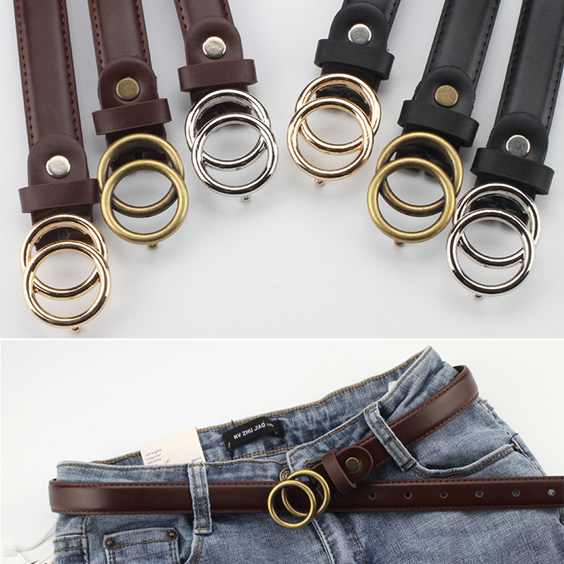 Man Woman Double Buckle Belt Vintage Double Circle Unisex High Quality PU Leather Thin Belt Simple Student Jeans Belt Solid