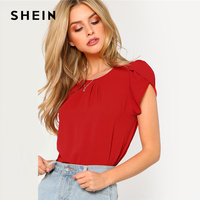 SHEIN Red Pleated Petal Sleeve Top Women Clothing Round Neck Short Sleeve Plain Blouse 2018 Summer