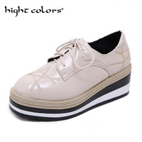 ada72d3fb Superstars Brogue Shoes Women Stars Derby Bulock Japanned Leather Wedges  High Heels British Lace Up Oxford