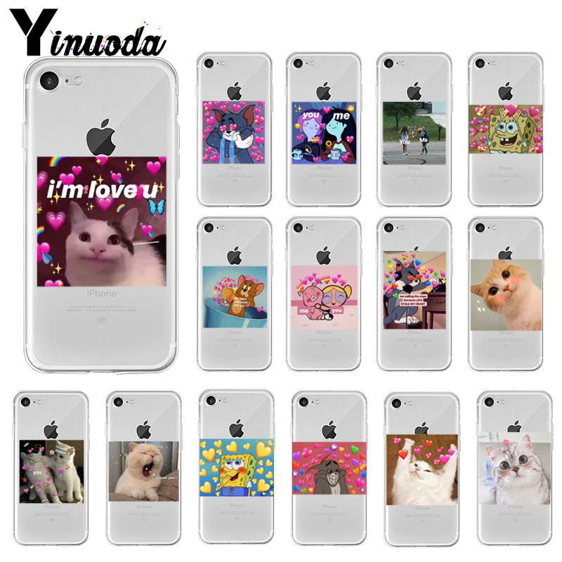 Yinuoda super cute cat dog cartoon pink Heart-shaped YOU&ME Phone Case Cover for iPhone X XS MAX 6 6S 7 7plus 8 8Plus 5 5S XR image