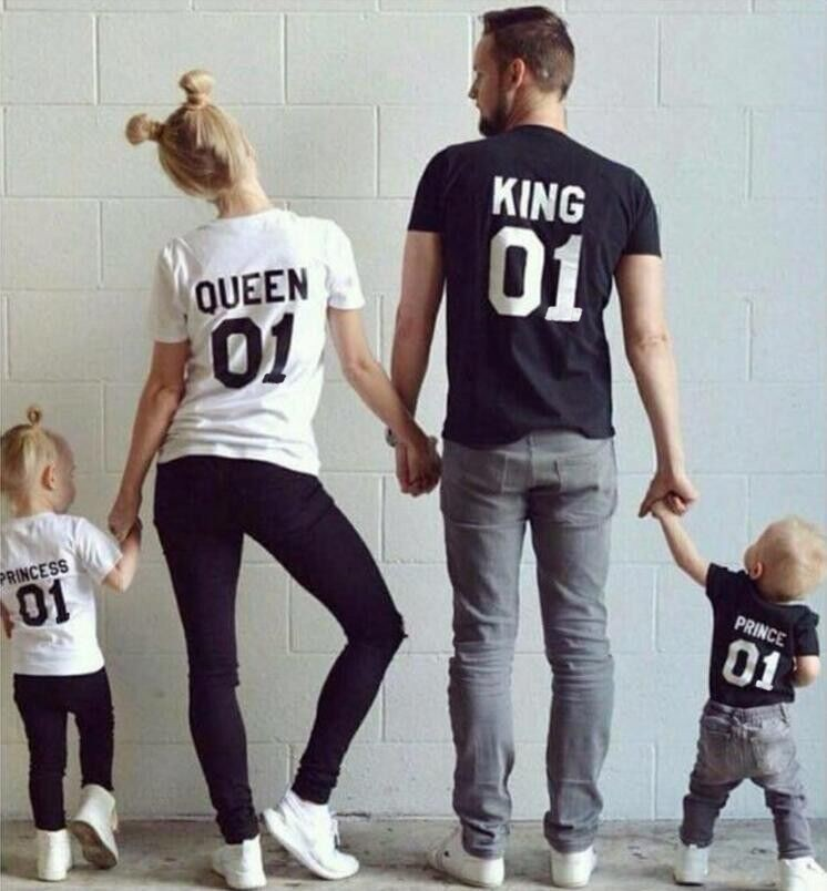 T-Shirts: New Family King Queen Letter Print Shirt,100% Cotton tshirt Mother and Daughter father Son Clothes Matching Princess Prince 1-6Y