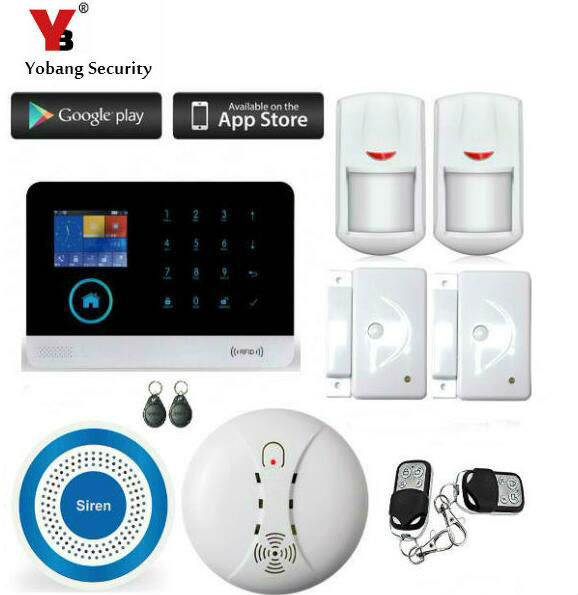 Yobang Security WIFI GSM Home Burglar Security Alarm System Wireless Kits APP Control RFID Card SMS Alert Panel Touch Voice LCD kerui wireless wired gsm voice burglar home house security alarm app control tft touch panel wireless smoke detector pir sensor
