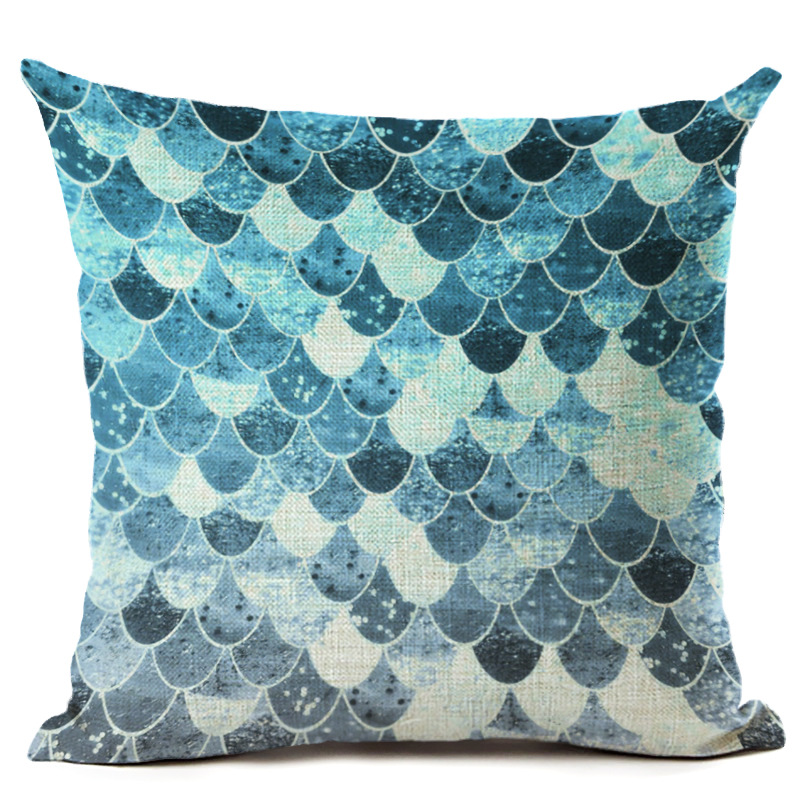 Square Pillowcase Fish Scale Cushion Cover Throw Pillow Case For Car Seat Sofa Home Decorative Pillow Cover F