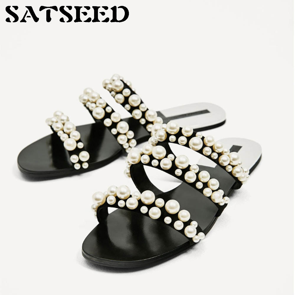 2018 Women Slippers Summer Beach Slippers Pearl Shoes Solid Rubber Sole Outside Slides Women Comfortable Shoes Flat String Bead New cheap price free shipping cheap collections sale excellent discount how much JtbznIYeWh