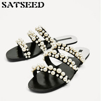 Women Slippers Summer Beach Slippers Pearl Shoes Solid Rubber Sole Outside Slides Women Comfortable Shoes Flat