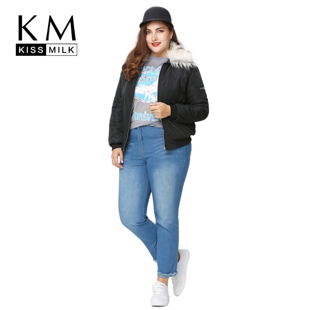 Kissmilk Plus Size New Fashion Women Clothing Casual Solid Jacket Coat Fur Collar Warm Pocket Basic Jacket 3XL 4XL 5XL 6XL