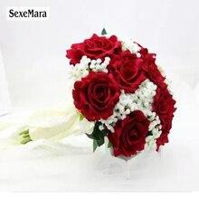 SexeMara ślub bordowy flaneli Rose panny młodej gospodarstwa kwiat ślub panna młoda druhna róża ślub fotografia rekwizyty 10 colourRr