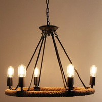 American Retro Pendant Lamp Creative Pastoral Rustic Country Style Rope Pendant Lights Cafe Restaurant Bar Bookstore