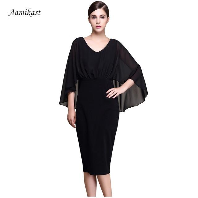 AAMIKAST Women Dresses Celeb New Fashion 2018 Elegant V-neck Sexy Business  Dresses 99c7fa9fd1ce