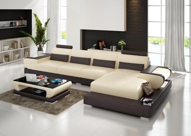 Modulaire ontwerp l vorm woonkamer meubels geniue lederen bankstel