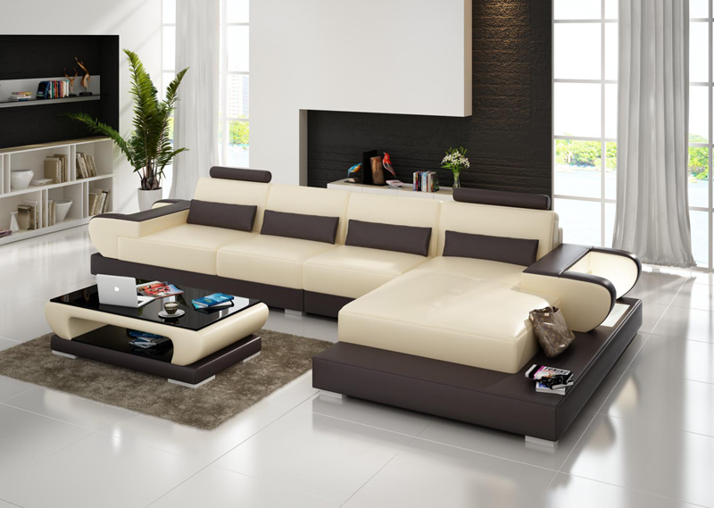 Superb Modular Design L Shape Living Room Furniture Geniue Leather Sofa Set G8003C