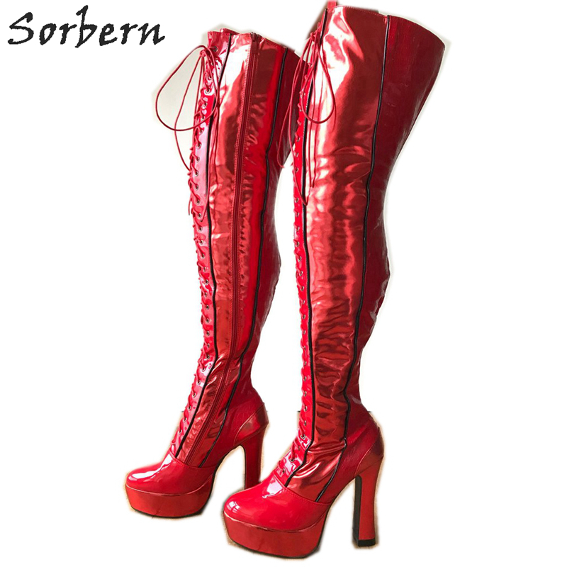 54546b3999a Sorbern Block Heels Crotch Thigh Boots Unisex Custom Legs Chunky High Heel  Boot Long Spool Platform