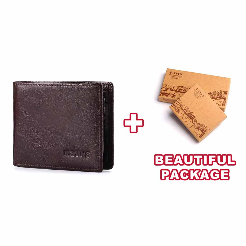 Кошелек KAVIS Rfid с бесплатной гравировкой, натуральная кожа, мужской кошелек, портмоне, портфель, держатель для карт, Cuzdan Perse Name - Цвет: Coffee-S-Box