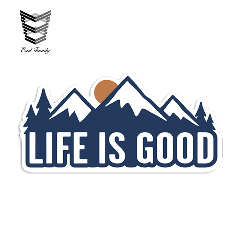 EARLFAMILY 13cm x 6.5cm Life Is Good Mountain Sunset Outdoor Hiking Vinyl Sticker Car Truck Window Decal Reflective Car Styling