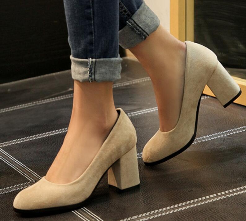 Mujer Bureau Mariage Apricot Pompes Glissement Talons Zapatos Chaussures Sur Mariée Femme Femmes Feminino Sapato A11404 Bout black Hauts Dames De Chunky Arrondi U8dwzq
