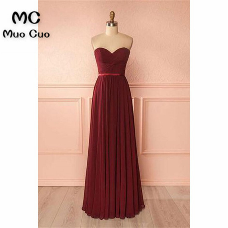2018 Burgundy   Bridesmaid     Dresses   Wedding Party   Dress   Pleat Chiffon Sweetheart Prom   Bridesmaid     Dresses   for women