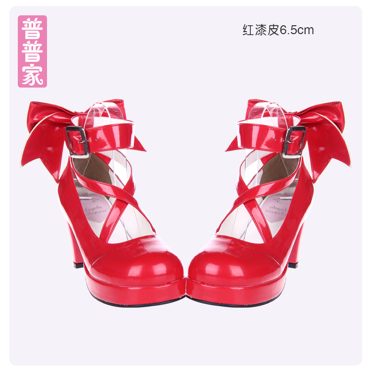 Princess sweet lolita shoes Lolita shoes high heel bow small round cartoon and adorable sweet princess shoes women pu8280 2018 spring sweet bow elegant lolita cosplay shoes chunky high heel pumps princess party shoes
