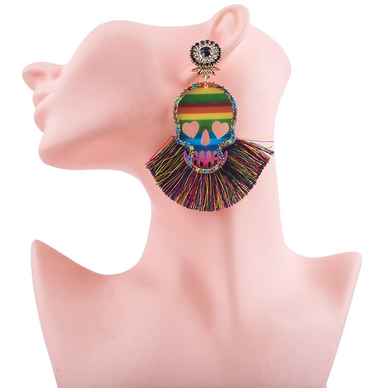 2019 New Design Skull Tassel Earrings For Women BOho Ethnic Crystal Silk Fabric Long Dangle bohemian statement ear Jewelry (2)