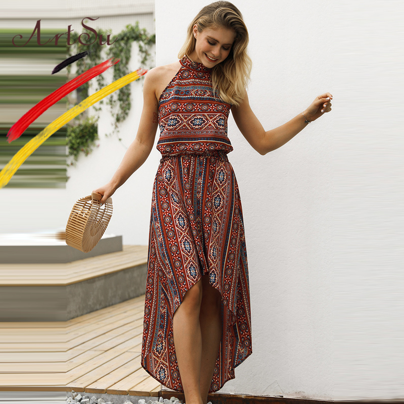 ArtSu Vintage Ethnic Women Summer Dress Sexy Halter Hollow Out Irregular  Maxi Dress Casual Print Elastic