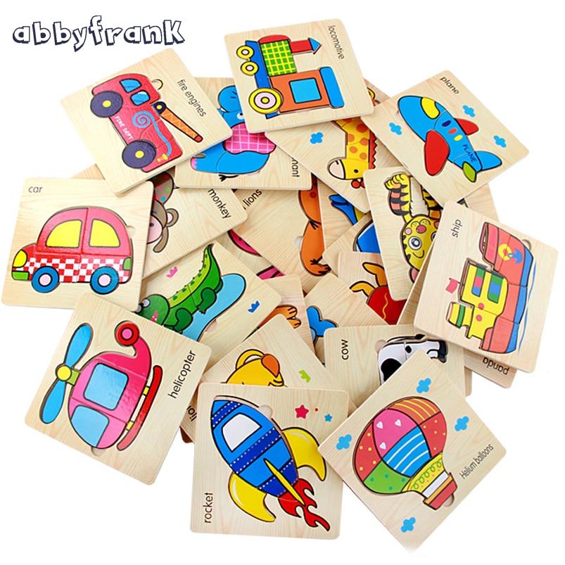 Abbyfrank 5PCS / Lot Baby Cartoon Fa 3D Puzzle Oktatási játékok Gyümölcs-állatkísérletek Grafikus illesztési kártyák Ajándékok gyerekeknek