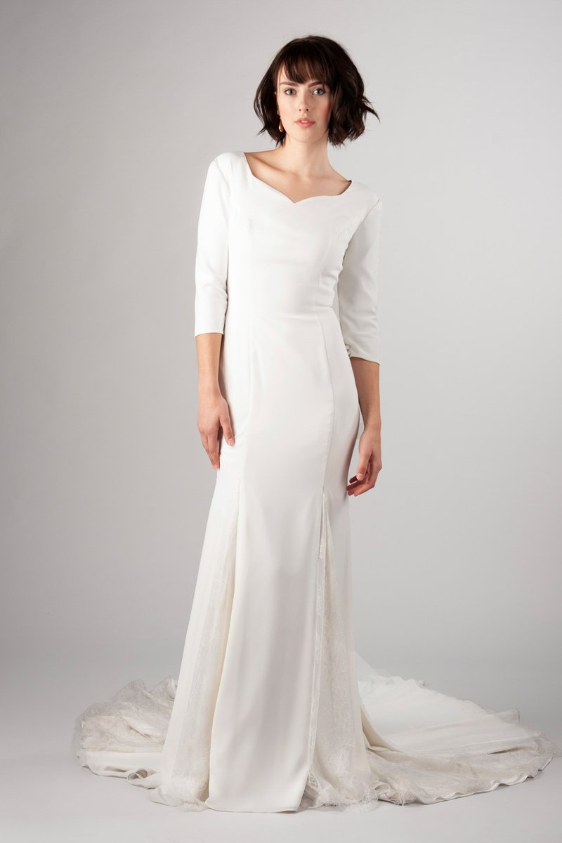 2019 New Simple Crepe Mermaid Modest Wedding Dresses With 3/4 Sleeves Sweetheart Elegant LDS Modest Reception Bridal Gowns