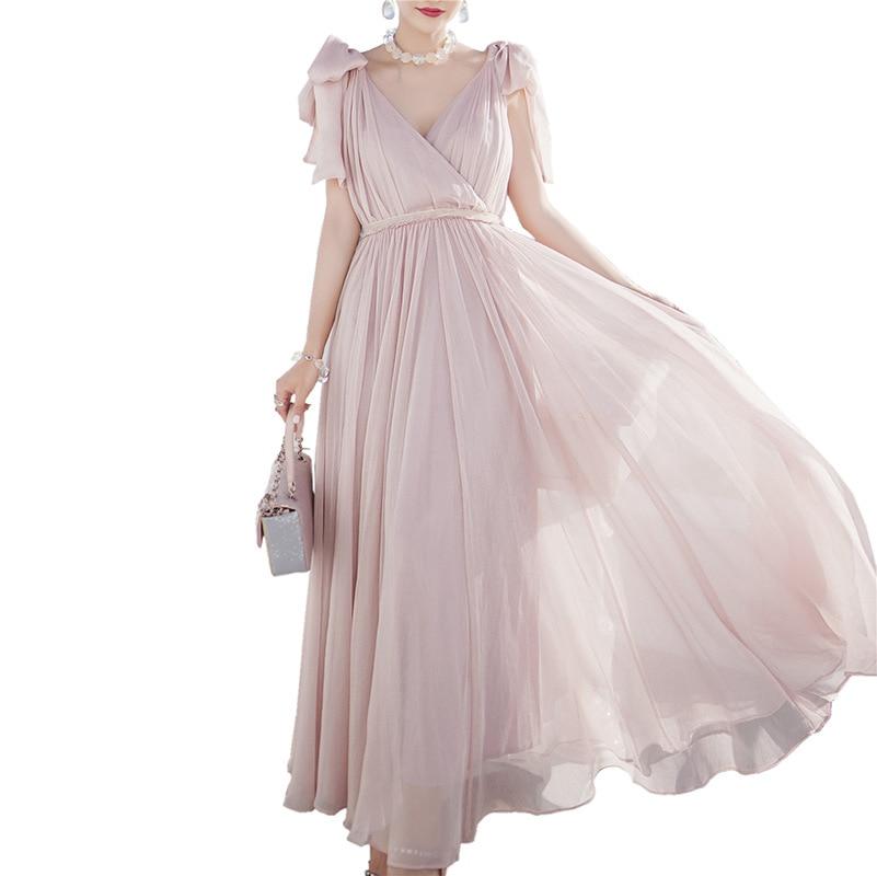 new sweet pale pink halter long chiffon evening dresses