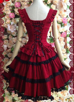 Lolita red dress lolita princess dress with vintage lace sling fluffy dress