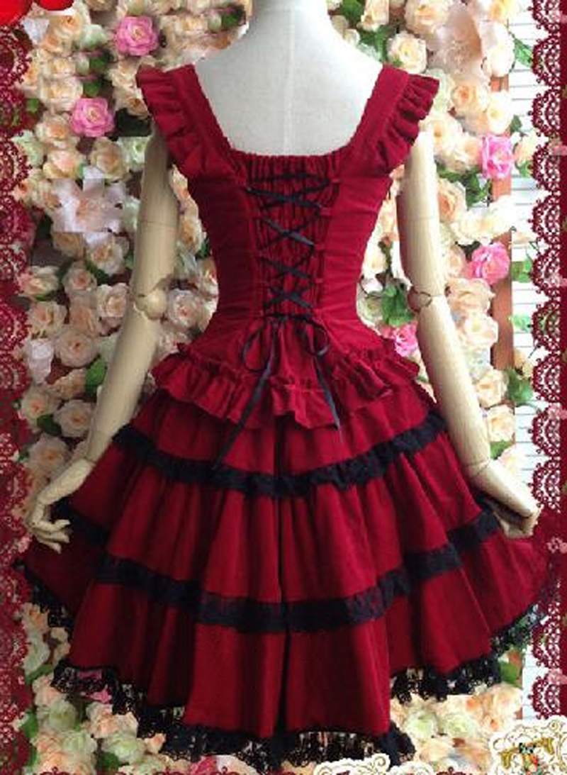 Lolita robe rouge lolita robe princesse avec dentelle vintage fronde robe duveteuse