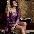XIFENNI Marca Mujeres Satén de Seda Albornoces Elegante Atractivo de Dos Piezas Conjuntos de Traje Bordado de Encaje ropa de Dormir Camisones de Seda del Faux 20244