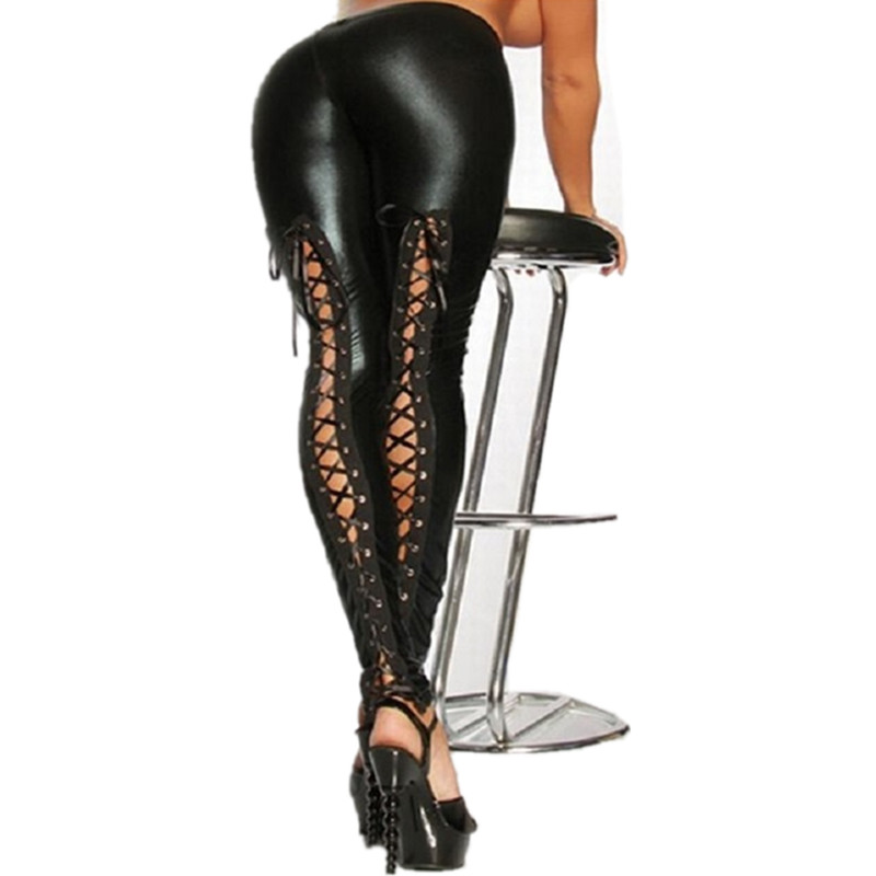 2016 Sexy Lace Up Stretch Material Pencil Pants New Women Faux Leather Legging Fashion Black Punk Leggings LG068
