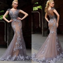 Elegant 2017 Mermaid Evening Dresses Tulle Illusion Back Vestido De Festa Princess Style Formal Gowns For Wedding Party Dresses