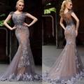 Elegante 2017 Mermaid Evening Vestidos Tulle Illusion Voltar Vestido De Festa Da Princesa Estilo Vestidos Formais Para Vestidos de Festa de Casamento