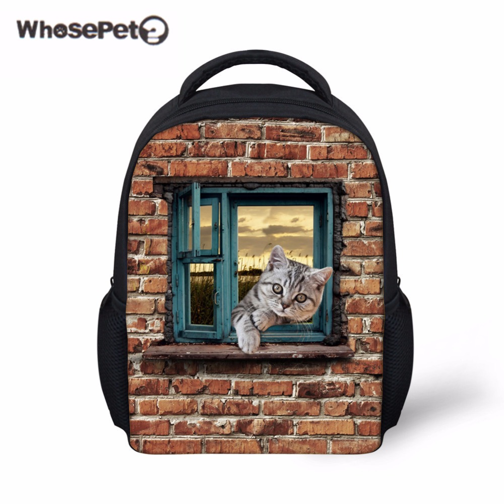 WHOSEPET Cute Cat School Backpack for Children Casual Shoulder Bag Boys Girls Preschool Mini Satchel Kids Small New Schoolbag