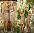 2016 Sparkling Rose Gold Bridesmaid Dresses Maid of Honor Formal Gowns Wedding Party Dress A Line V Neck Sequins Lace BE94