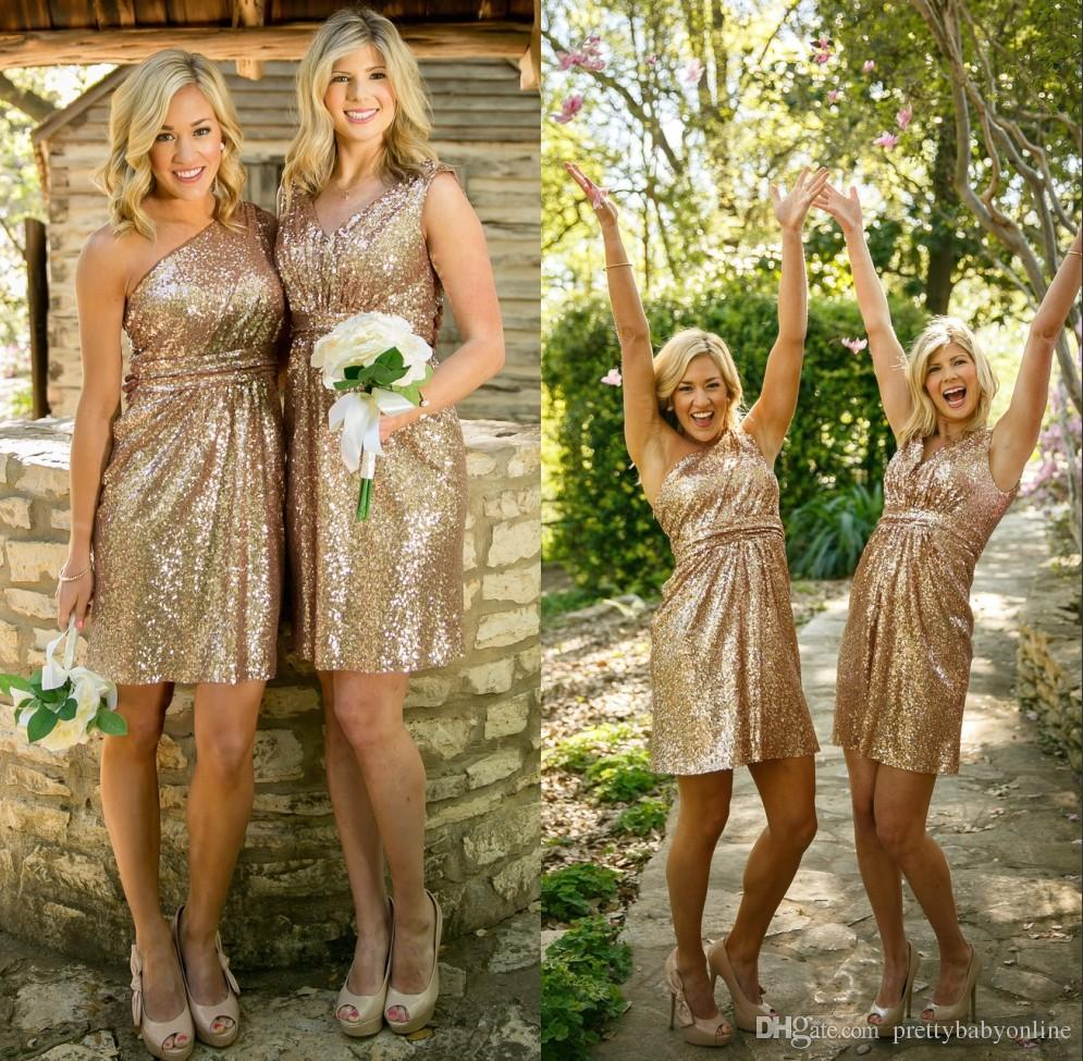 Compare prices on gold sparkle bridesmaid dress online shopping 2016 sparkling rose gold bridesmaid dresses maid of honor formal gowns wedding party dress a line ombrellifo Images