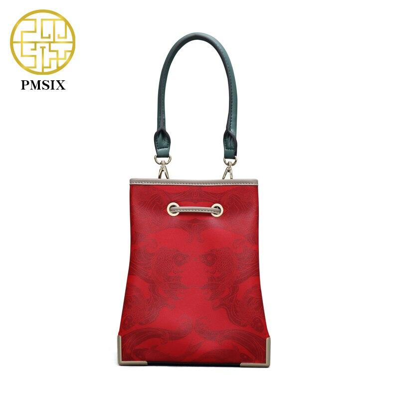 Pmsix 2017 Spring New Shoulder Bag Mini Bucket Bag Red Printing Leather Crossbody Bag Ladies Retro  Designer Handbag P120098