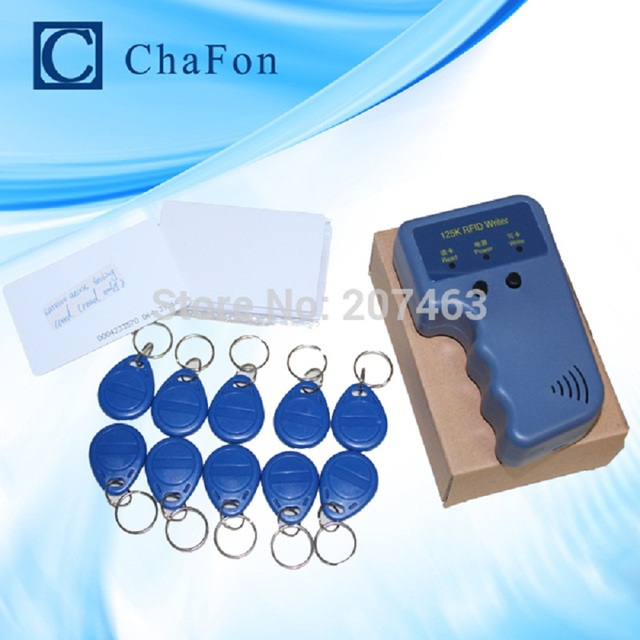 Handheld 125Khz EM4100 RFID copier / writer / duplicator(T5557/T5577/EM4305)  free 10pcs writable keychains and 10pcs cards