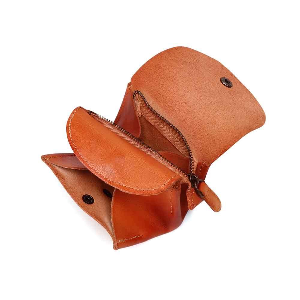 Tout nouveau 2019 hommes doux véritable porte-cartes en cuir femmes porte-monnaie porte-clé Zip portefeuille pochette en cuir tanné végétal sac à main