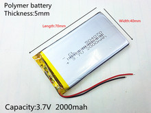 3.7V 2000mAh 504070 Lithium Polymer Li-Po li ion Rechargeable Battery cells For Mp3 MP4 MP5 GPS PSP mobile bluetooth