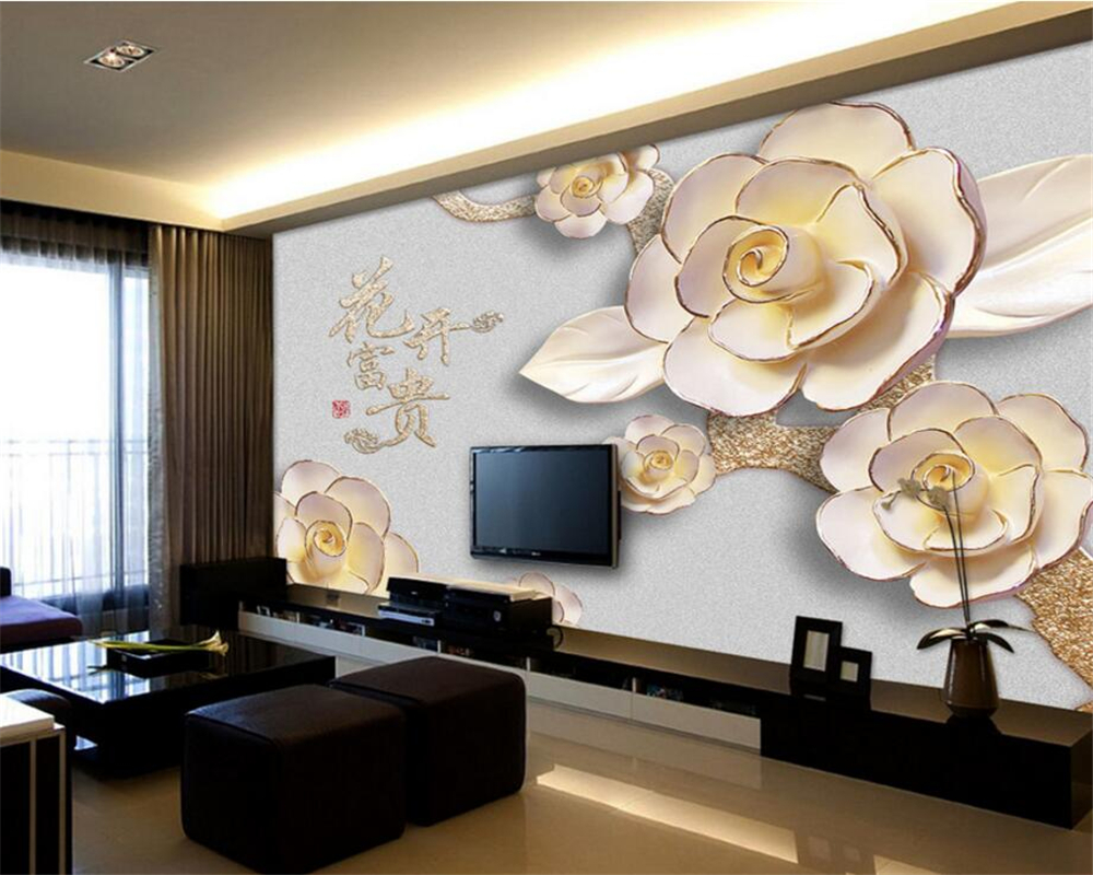 popular mural painting materials buy cheap mural painting beibehang 3d wallpaper decorative painting relief stereo flower fugitive tv background wall mural photo wallpaper for