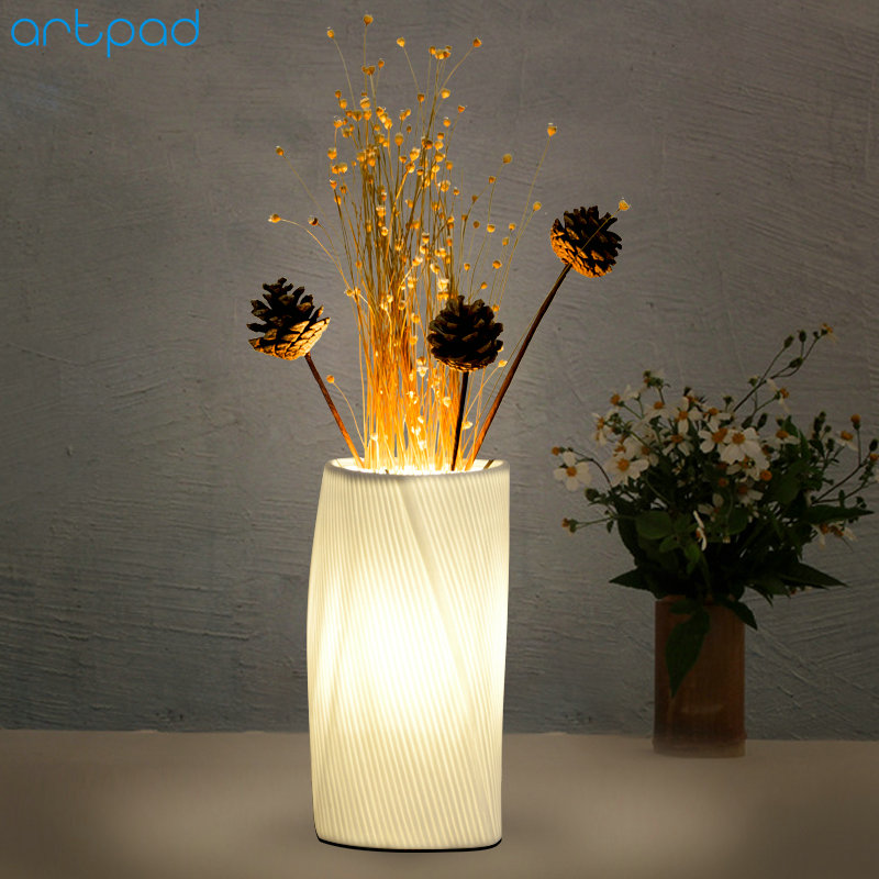 Artpad Modern Creative Night Light Porcelain Table Lamp AC90-260V E14 LED Flower Vase Light Girl Bedroom Atmosphere Ceramic Lamp