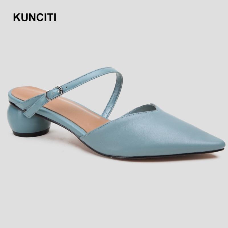 2019 KUNCITI Genuine Leather Slides Women Fashion Designer Women Slippers Strange Heel Pointy Toe Ladies Korean